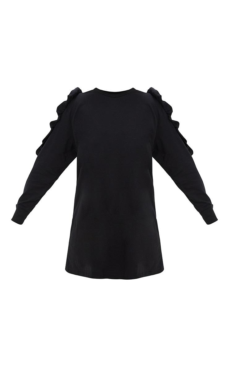 Black Frill Cold Shoulder T Shirt Dress 3