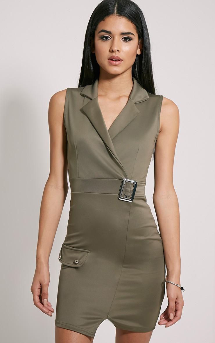 Samaine Khaki Belted Mini Dress 3