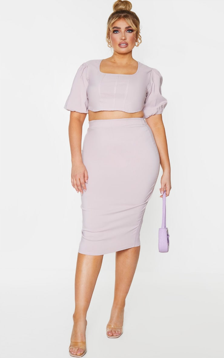 Plus Dusty Pink Stretch Seam Detail Midi Skirt 1