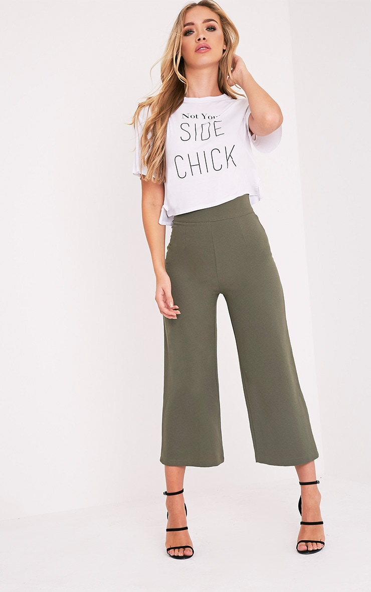Tazmin Khaki High Waisted Culottes 1
