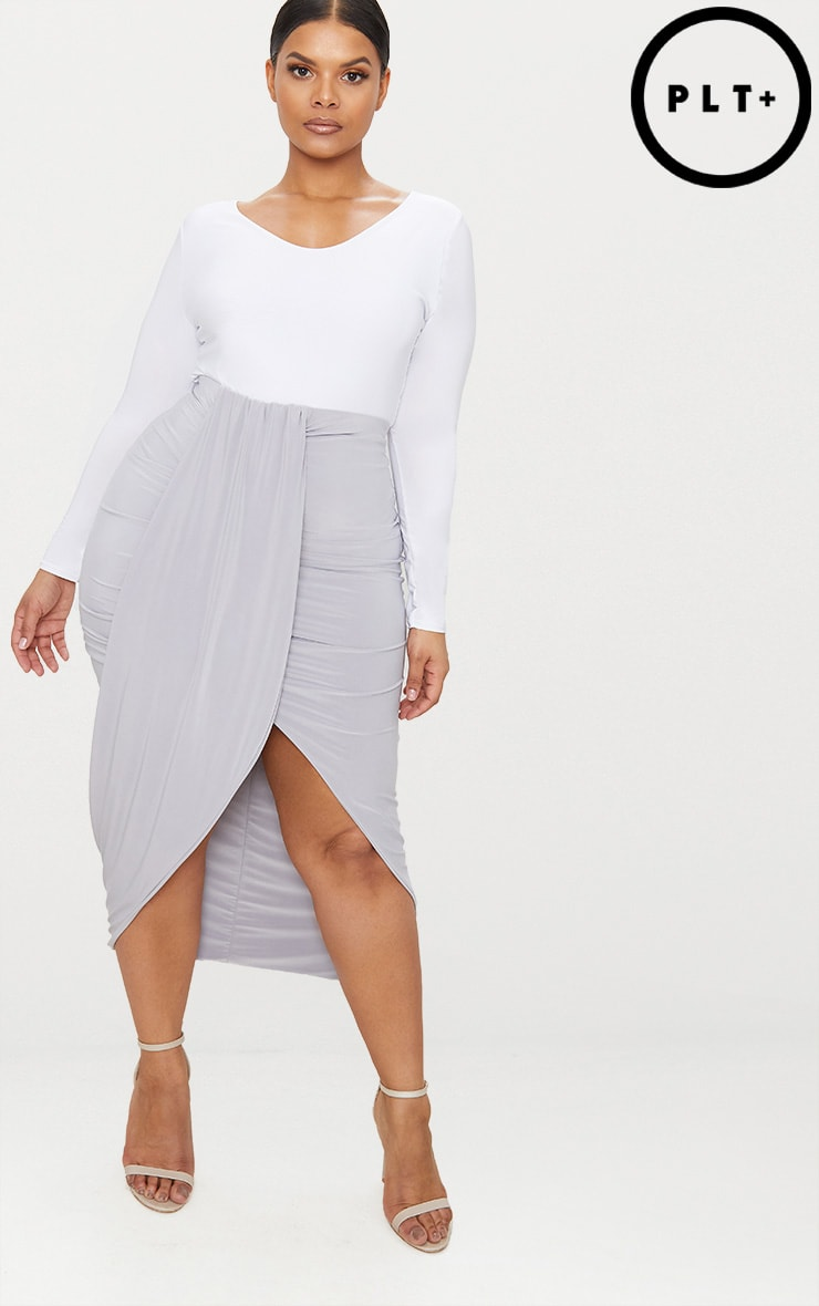Plus Ice Grey Slinky Ruched Wrap Front Midi Skirt