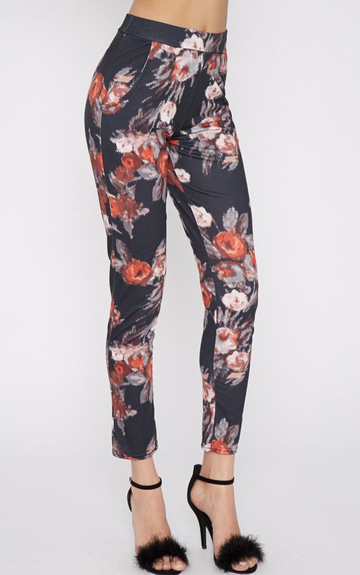 Yulia Black Floral Jersey Trouser 3
