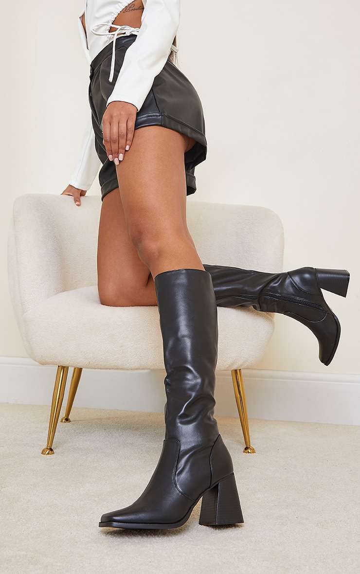Black Square Toe Flare Block Heel Knee High Boots 2