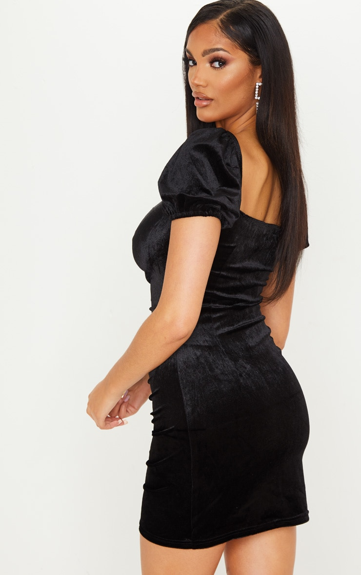 Black Velvet Ruched Button Detail Bodycon Dress 2