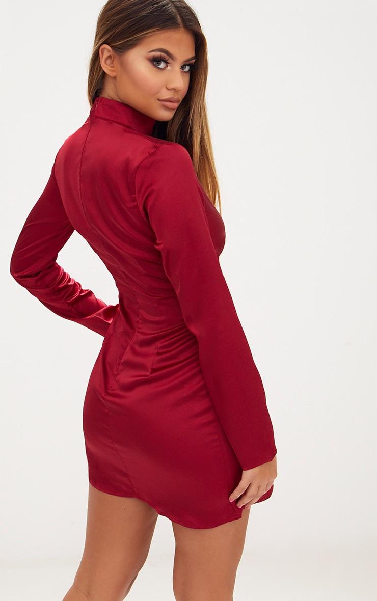 Burgundy Satin Choker Detail Wrap Bodycon Dress 2