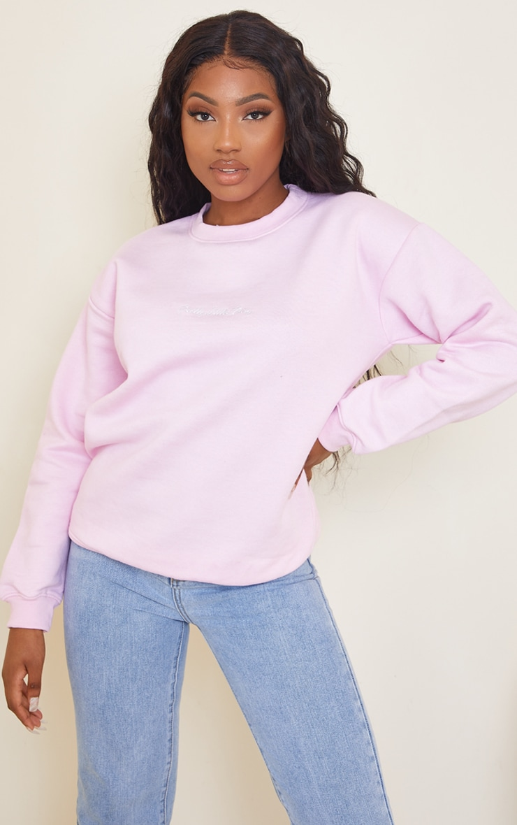 PRETTYLITTLETHING Oversized Baby Pink Embroidered Sweater 1
