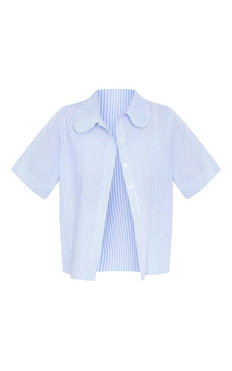 Blue Woven Stripe Oversized Frill Collar Shirt 5