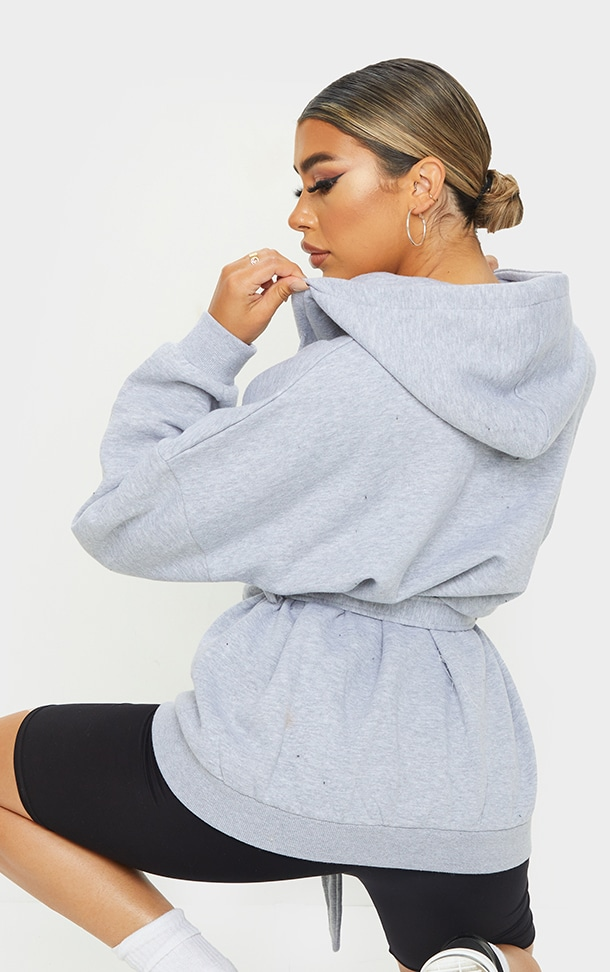 Grey Oversized Longline Zip Belted Hoodie Jacket 2