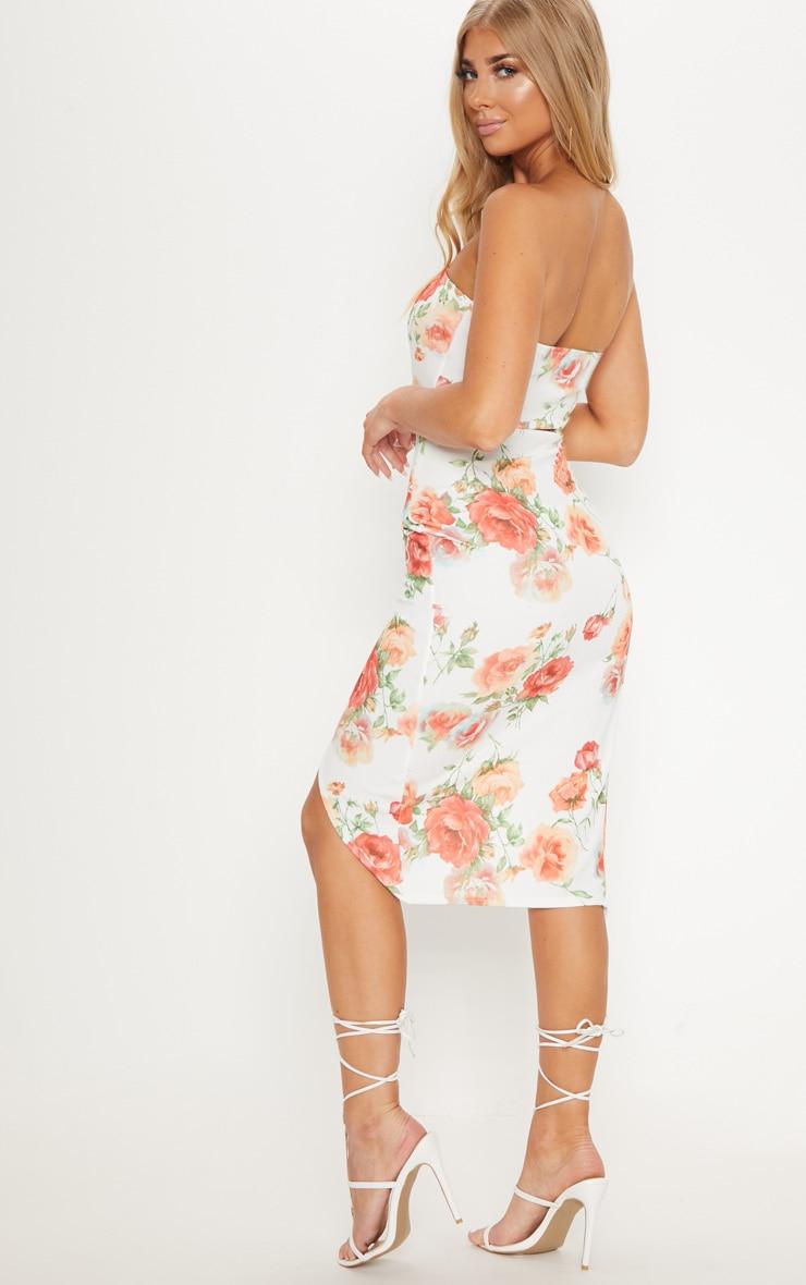 White Floral Bandeau Wrap Midi Dress 2