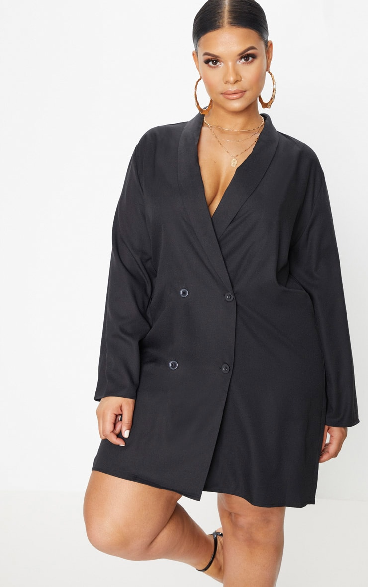 Plus Black Oversized Blazer Dress 1