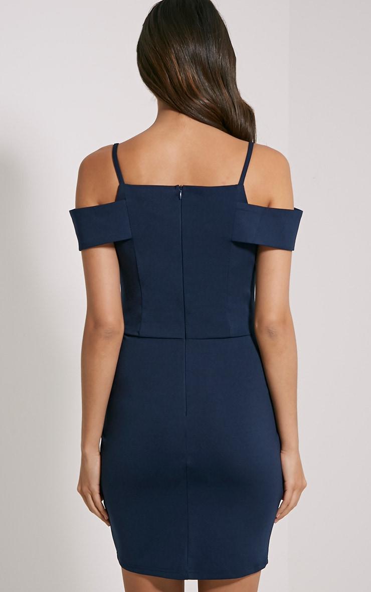 Floretta Navy Bardot Mini Dress 2