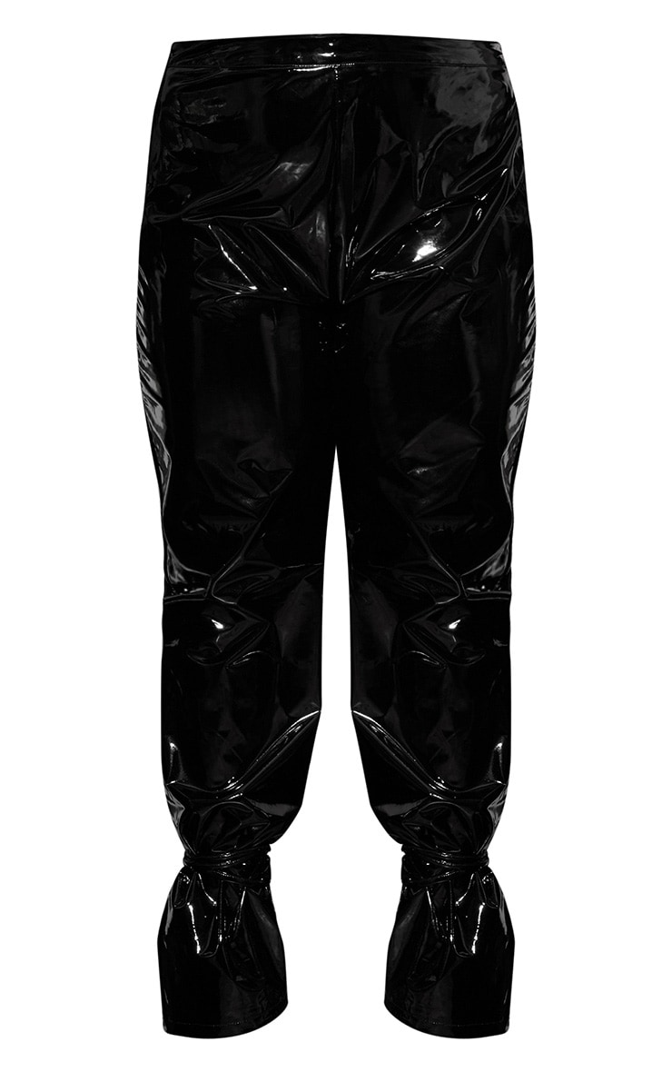 Plus Black Vinyl Lace Up Trouser 4