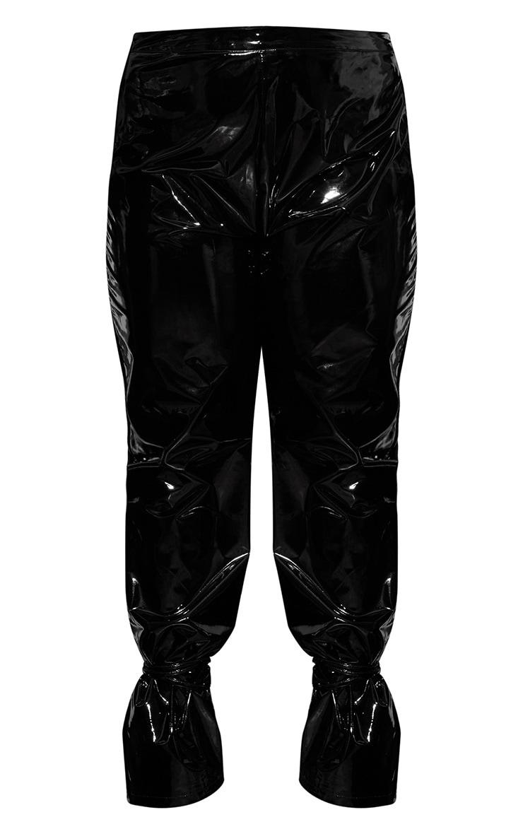 Plus Black Vinyl Lace Up Pants 4