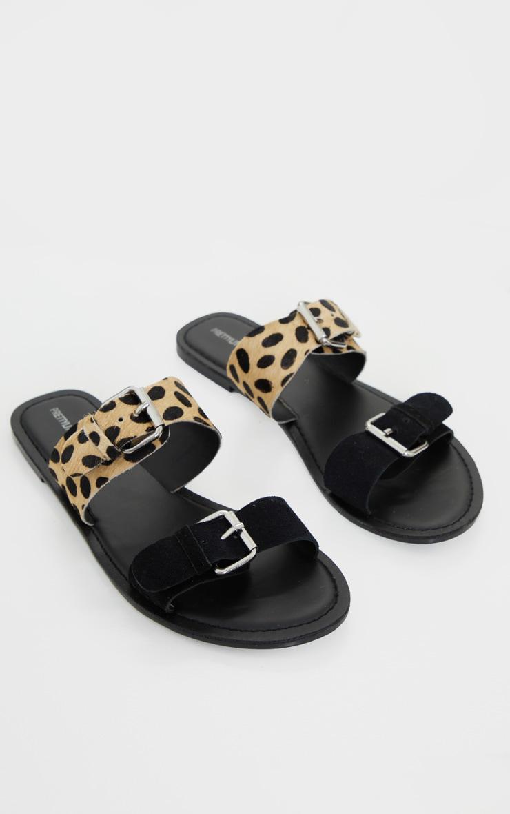 Black Twin Strap Buckle Trim Leather Mule Sandals 3