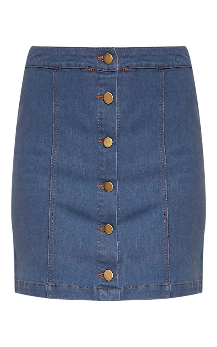 Cammie Light Wash Denim Mini Skirt 5