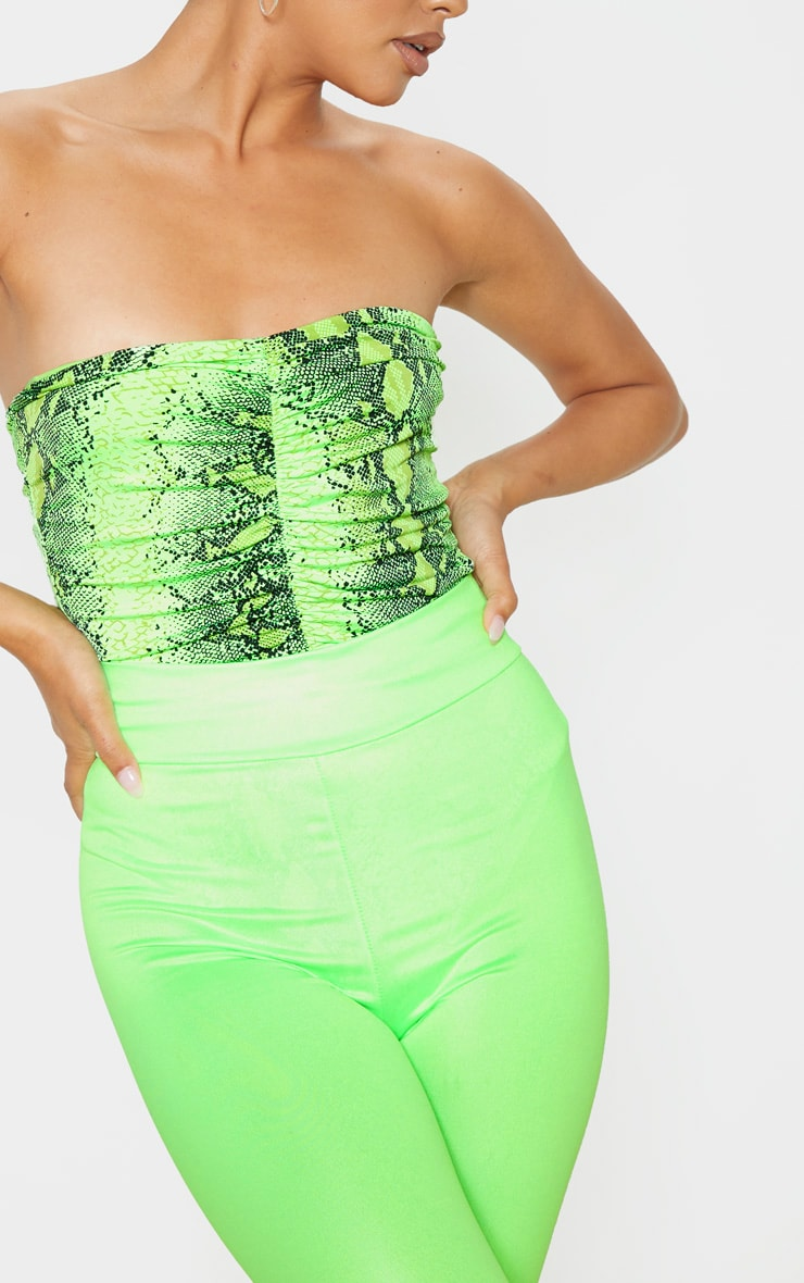 Neon Lime Snake Slinky Ruched Front Strapless Bodysuit  6