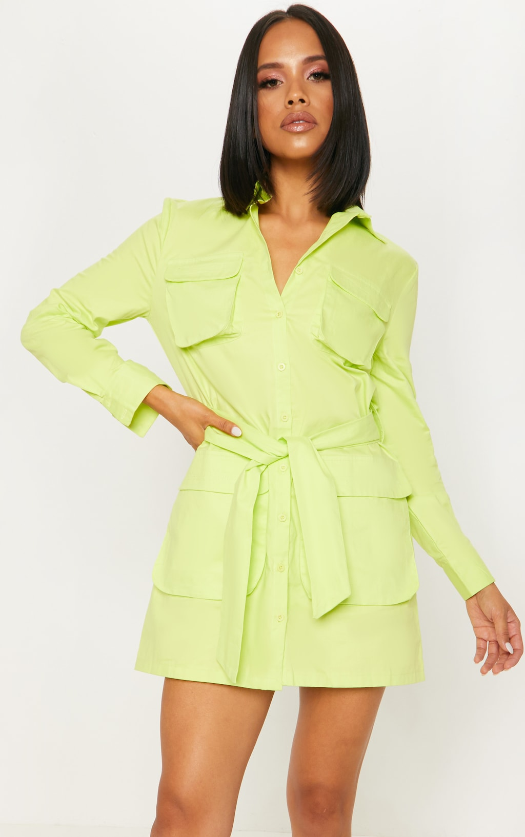 9fef1fc5d258d Neon Lime Utility Tie Waist Shirt Dress image 1