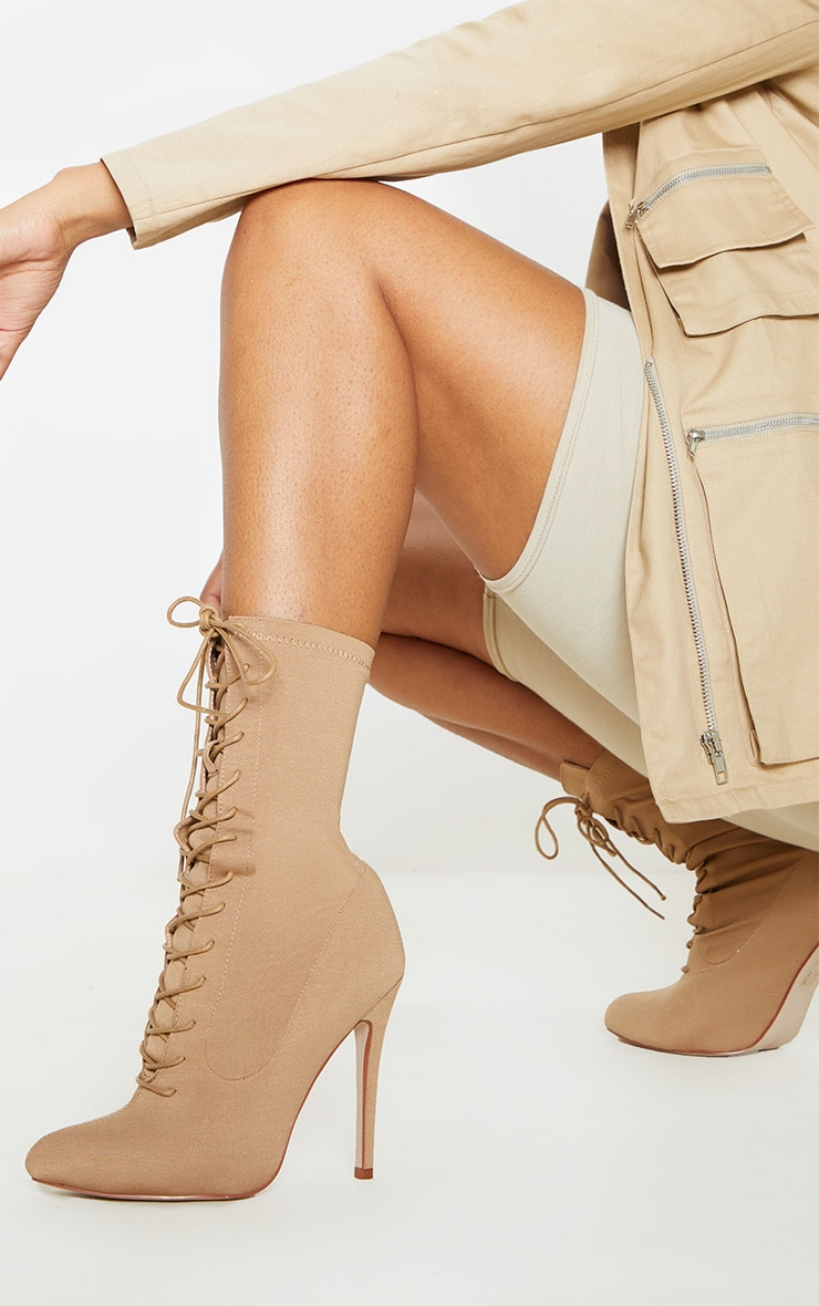 Mazy Nude Lace Up Sock Boots 2