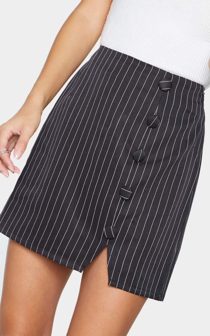 Black Woven Pinstripe Button Through Mini Skirt 5