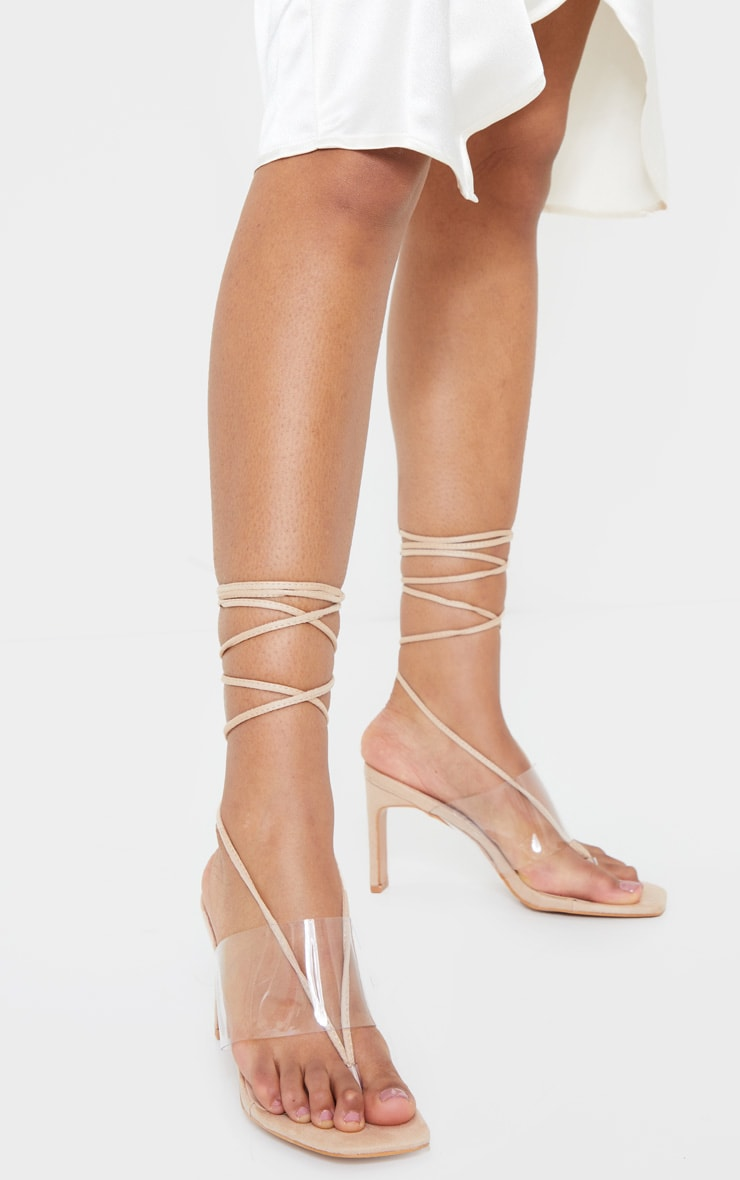 Nude Toe Thong Lace Up Strappy Flat Heel Sandals 2