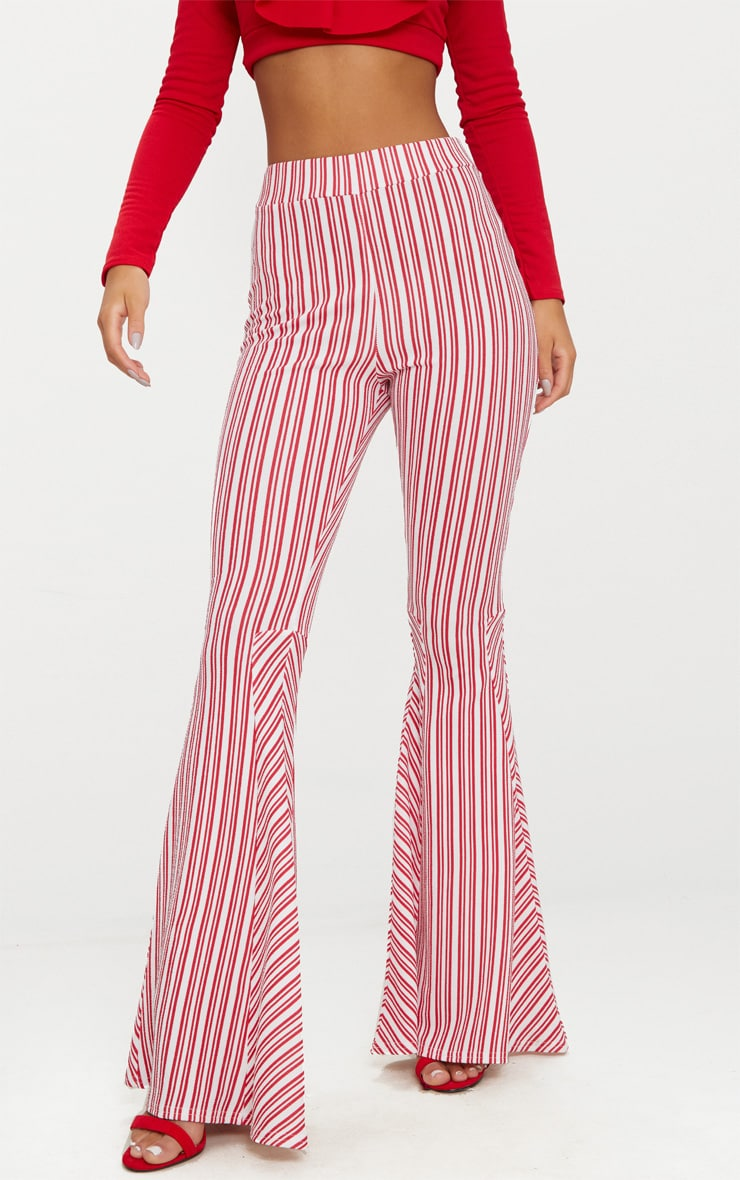 Red and White Stripe Extreme Flare Trouser 2