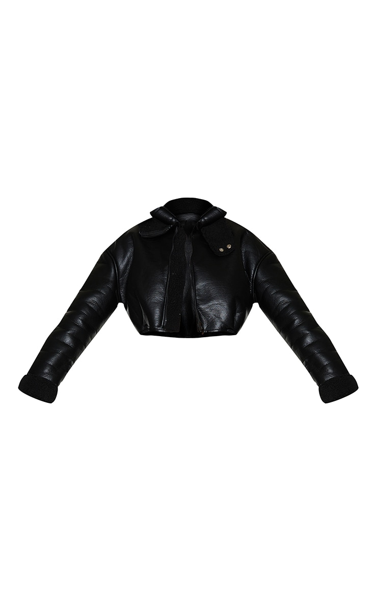 Black Faux Leather Borg Lined Super Cropped Aviator Jacket 5