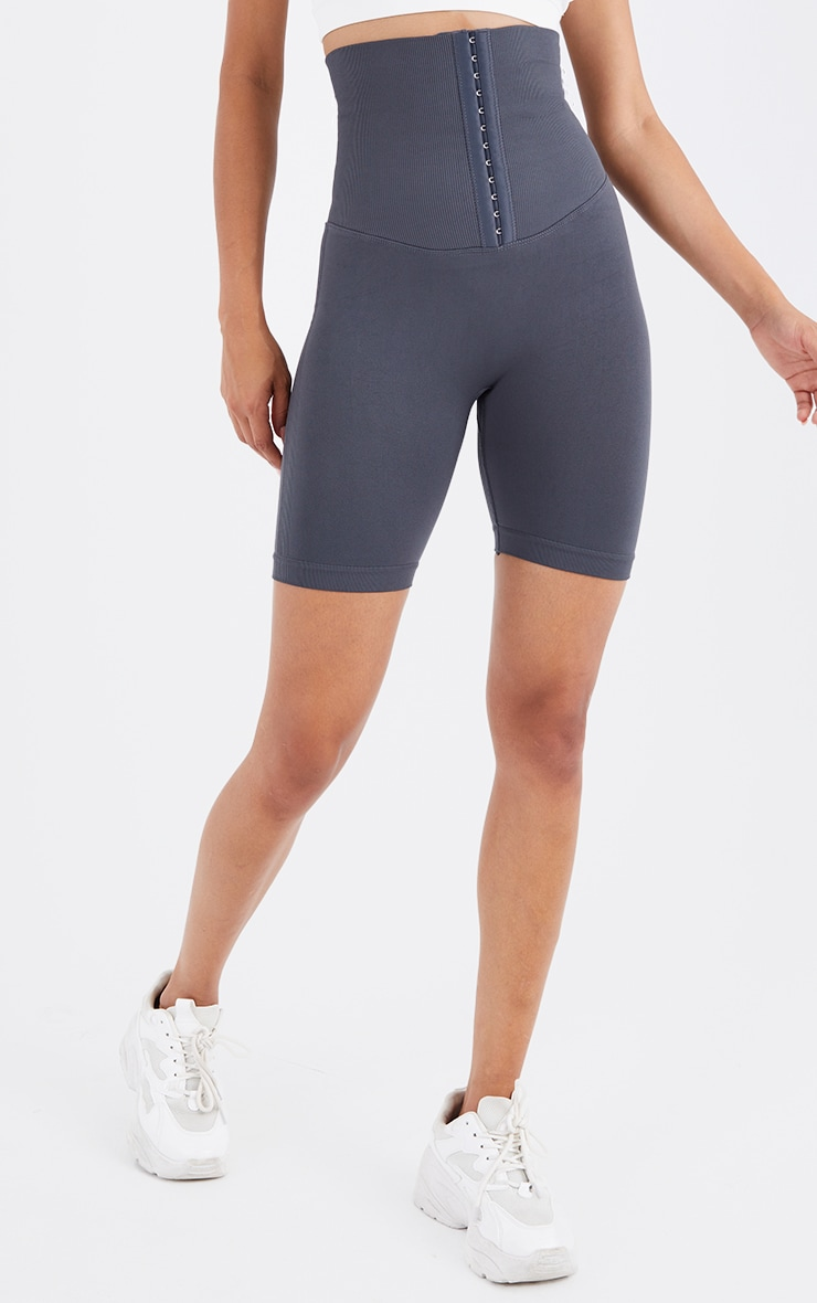 Grey Seamless Waist Trainer Cycle Shorts 2