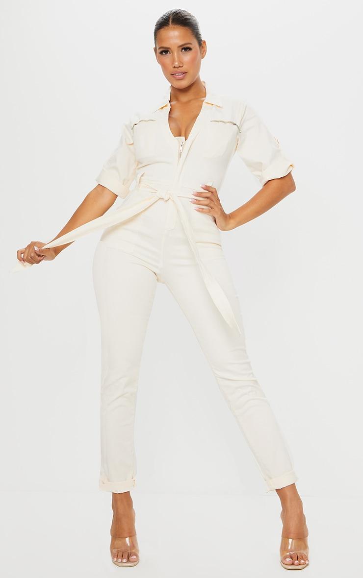 Shape - Combinaison zippée en jean écru à manches courtes 1