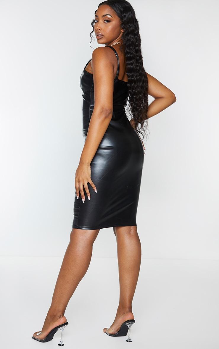 Black Faux Leather V Plunge Sleeveless Midi Dress 2