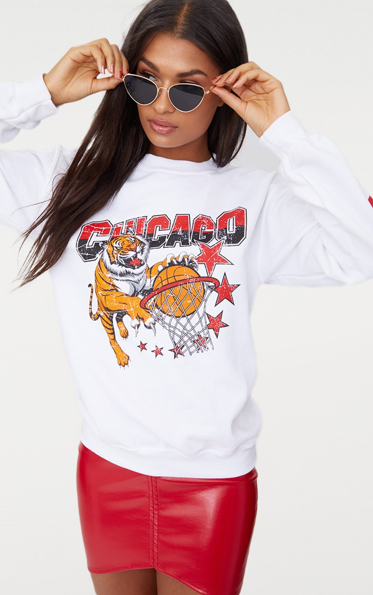 White Chicago Slogan Oversized Sweater 1