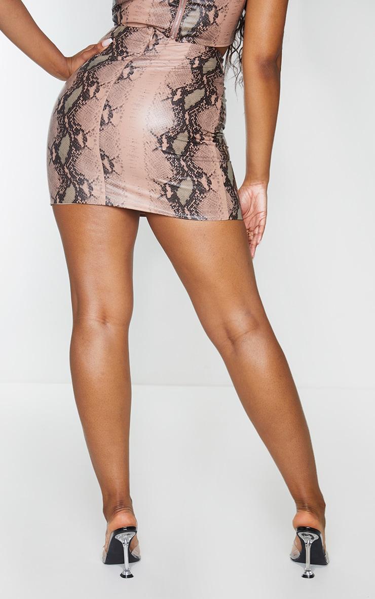 Light Brown Snake Print Woven Mini Skirt 3