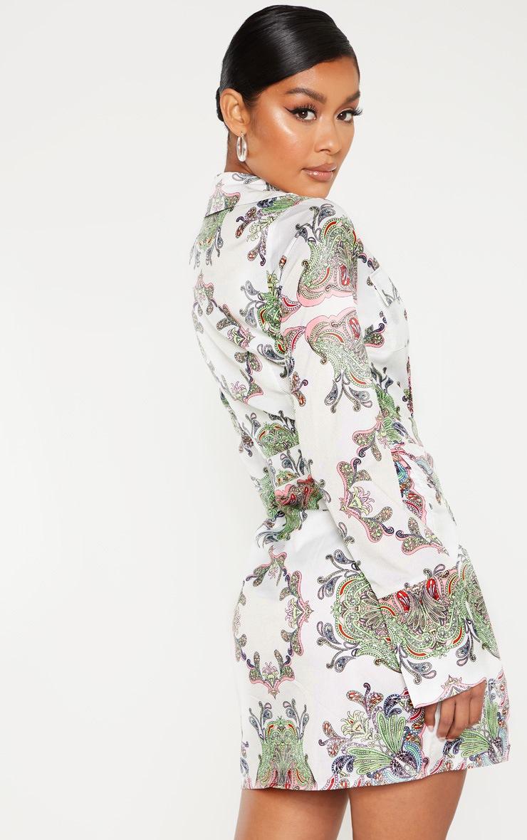 White Paisley Print Plunge Satin Bodycon Dress 2