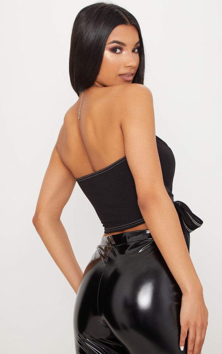 Black Contrast Stitch Bandeau Crop Top  2
