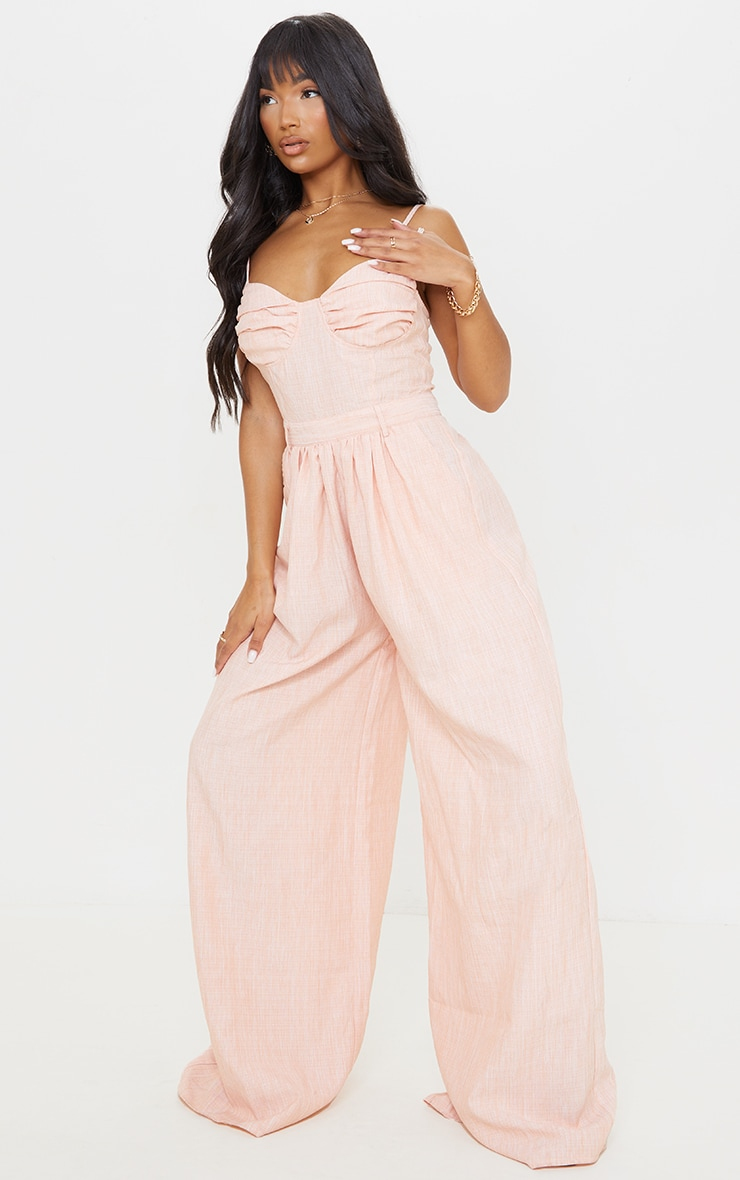 Tangerine Ruched Cup Strappy Wide Leg Jumpsuit 3