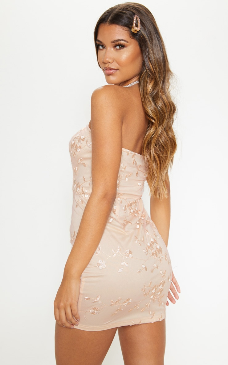 Nude Floral Embroidered Bandeau Bodycon Dress 2