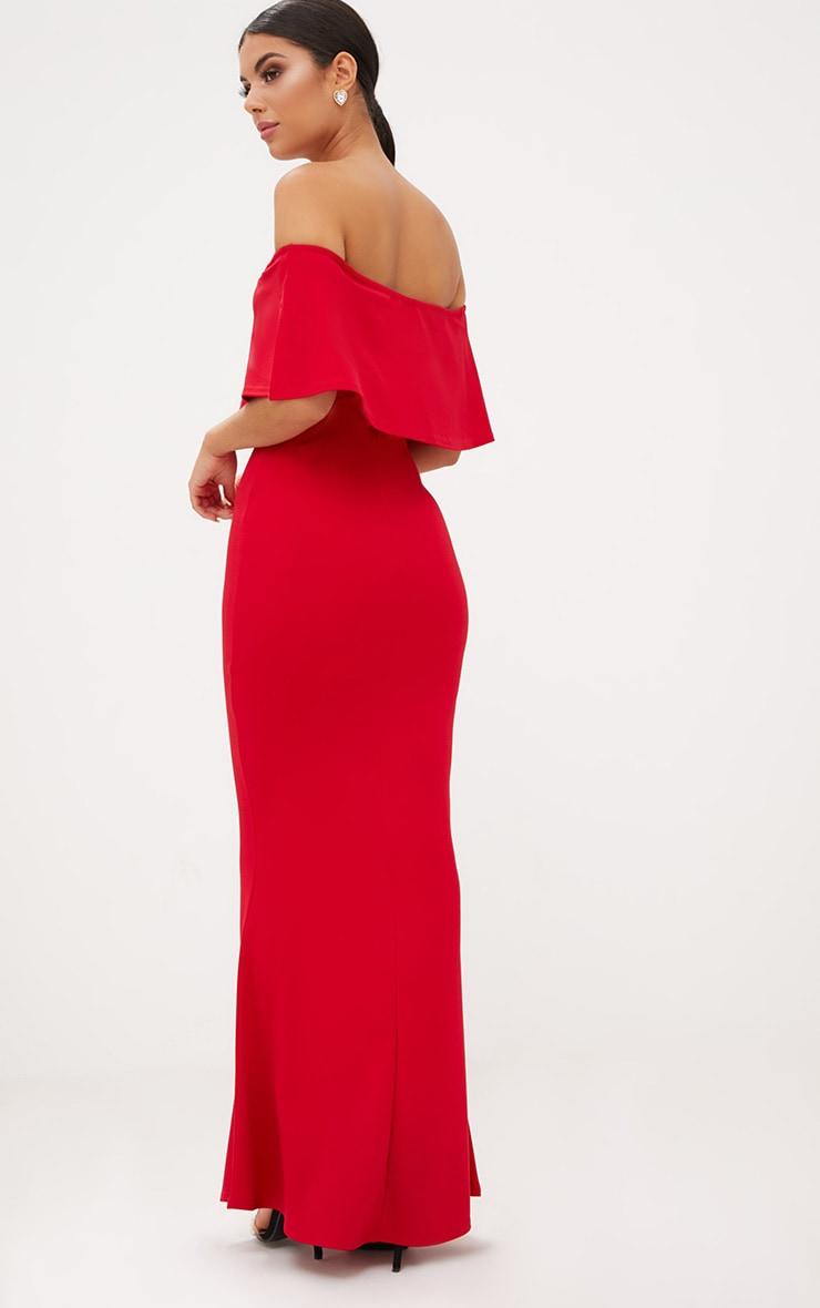 Red Bardot Frill Fishtail Maxi Dress 2