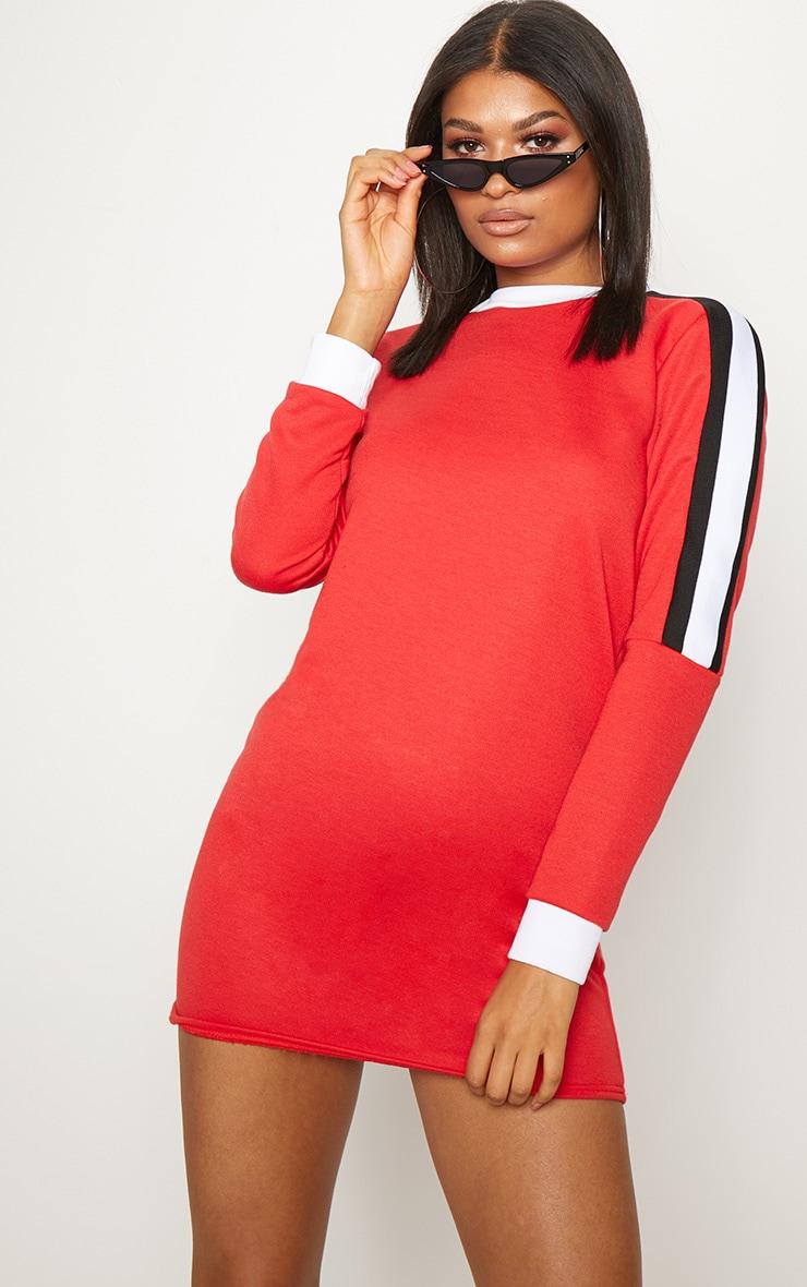 Red Sport Stripe Long Sleeve Jumper Dress 1