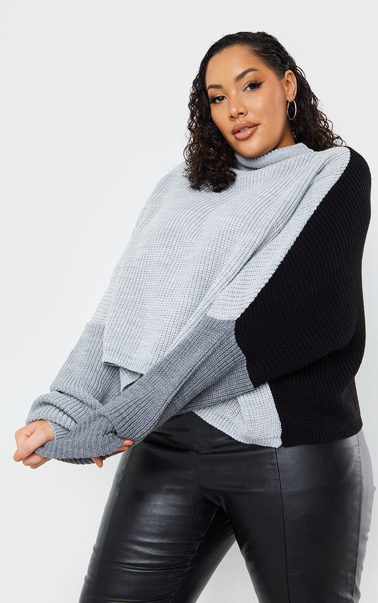 Plus Black Oversized Colour Knitted Block Jumper 3