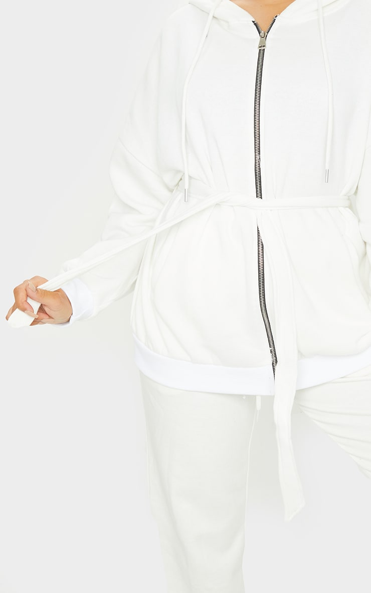 Cream Oversized Longline Zip Belted Hoodie Jacket 4