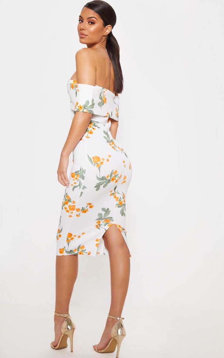 White Printed Plunge Bardot Midi Dress 2