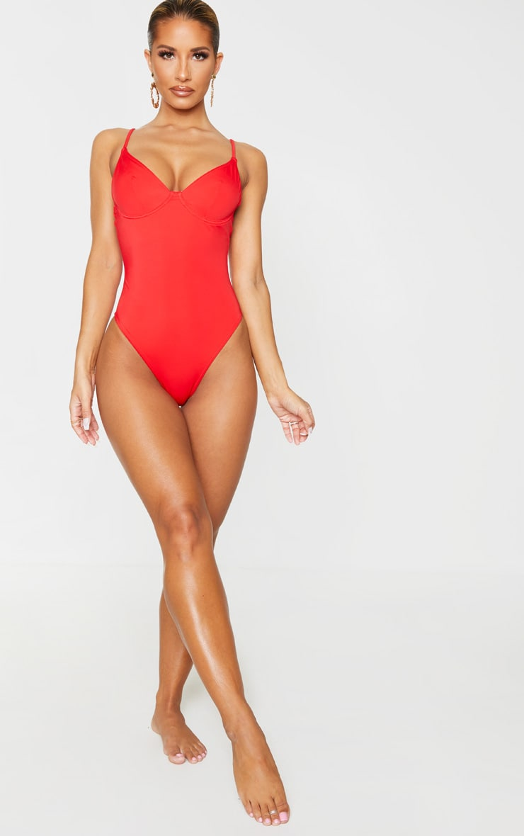 Red Underwired Plunge Swimsuit 3