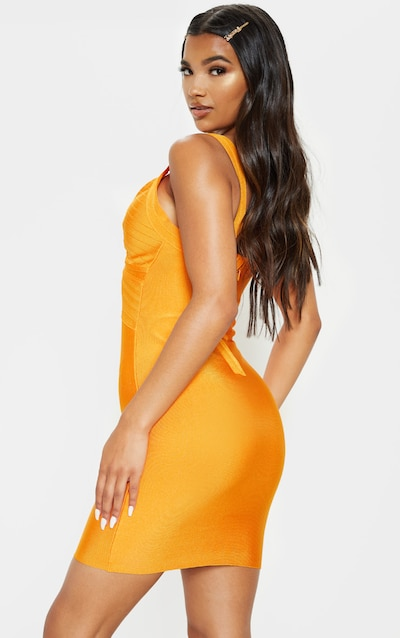 Orange Bandage Lined Cup Detail Bodycon Dress