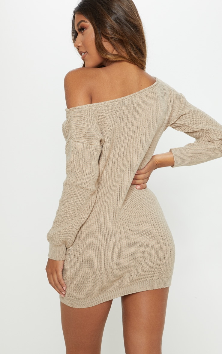 Stone Off The Shoulder Jumper Dress  2