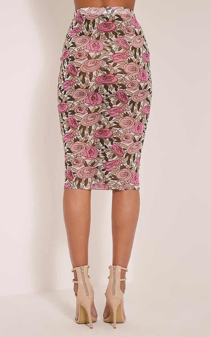 Denon Pink Floral Mesh Midi Skirt 5