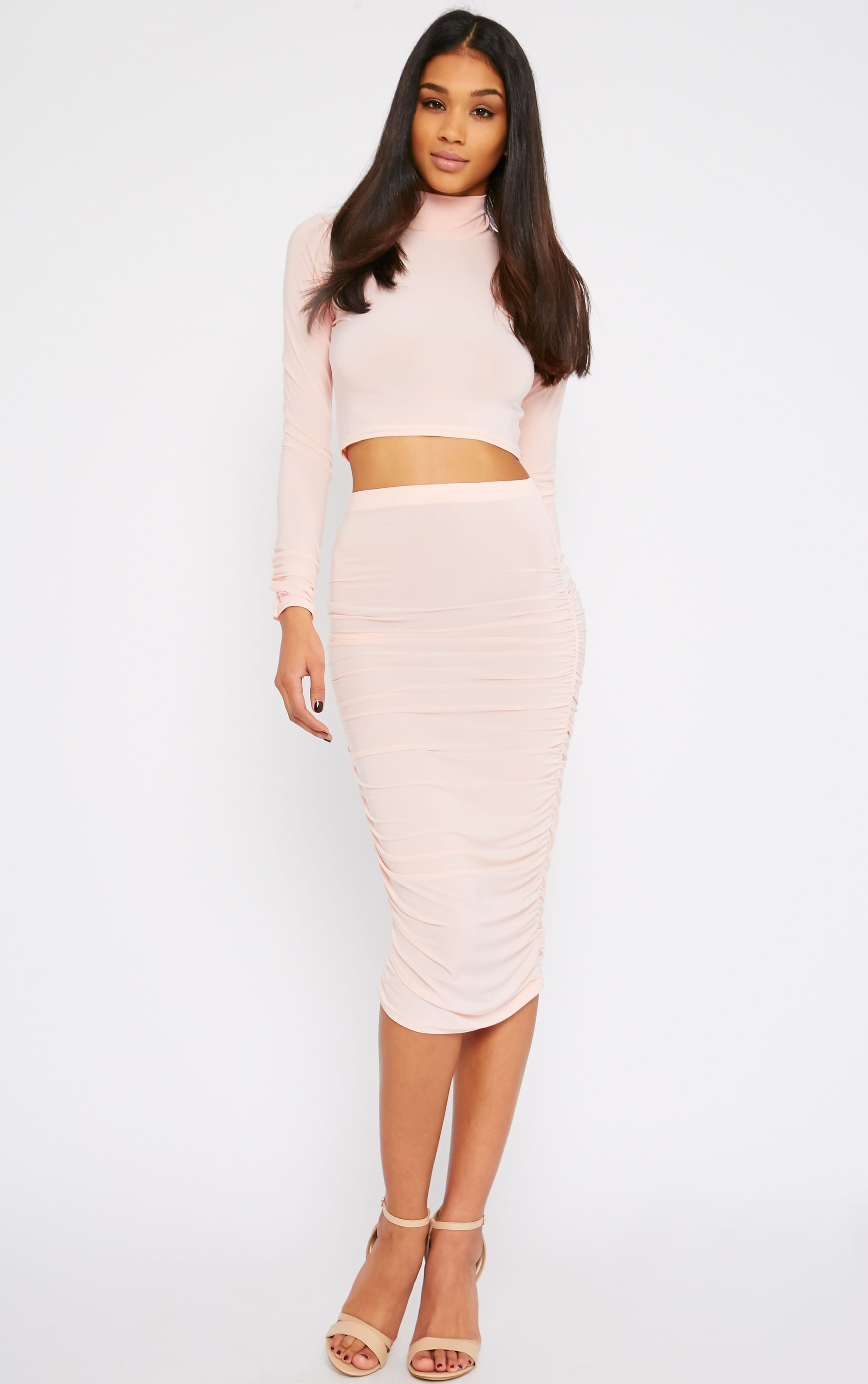 Saylor Pink Slinky Gathered Midi Skirt 1