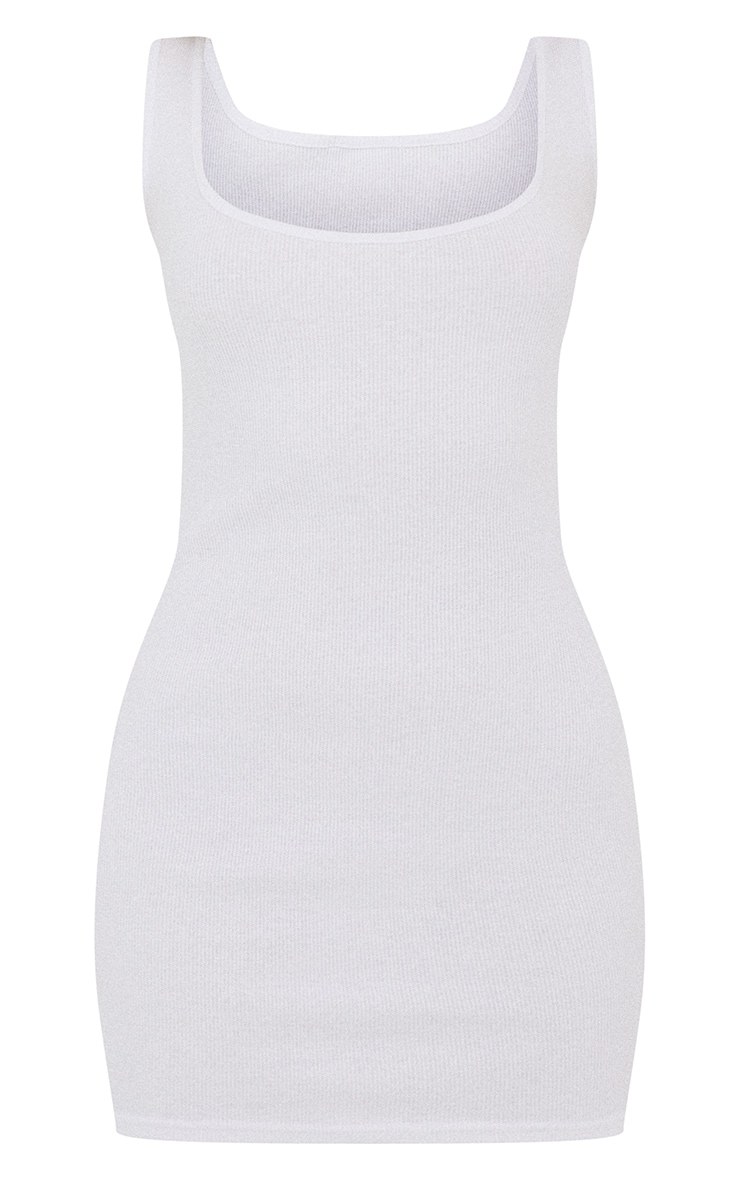 Basic White Cotton Blend Ribbed Scoop Neck Bodycon Dress 5