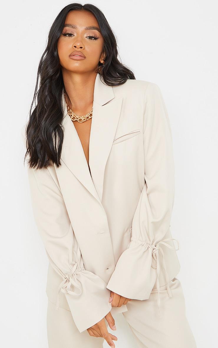 Petite Stone Oversized Tie Cuff Suit Blazer 1