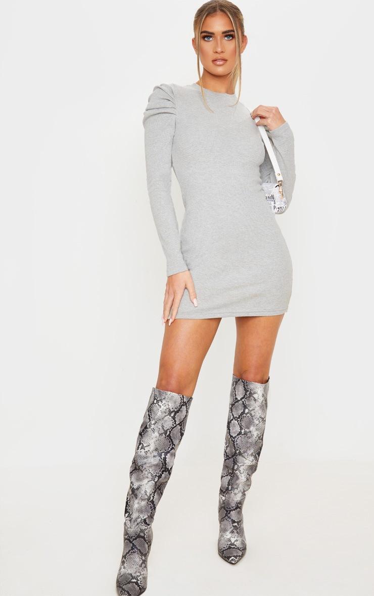 Grey Puff Sleeve Rib Knit Bodycon Dress 4