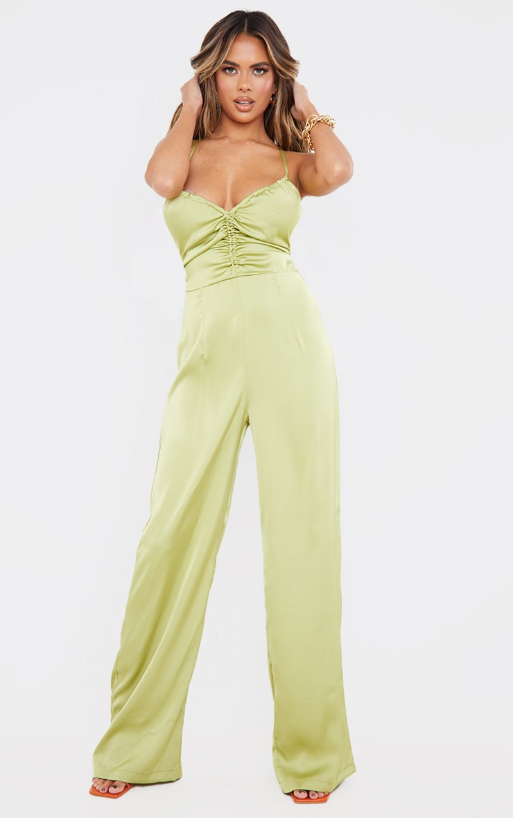 Olive Ruched Centre Strappy Satin Jumpsuit 1