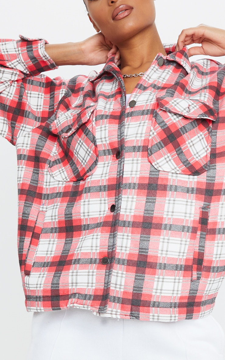 Red Checked Pocket Front Shacket 4
